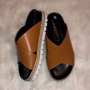 New Marni Fussbett Camel Brown Slide Sandals
